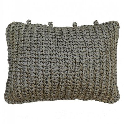 Hand Knit Silk Pillow. Metal