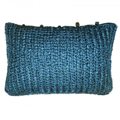 Azure Knitted Silk Pillow.
