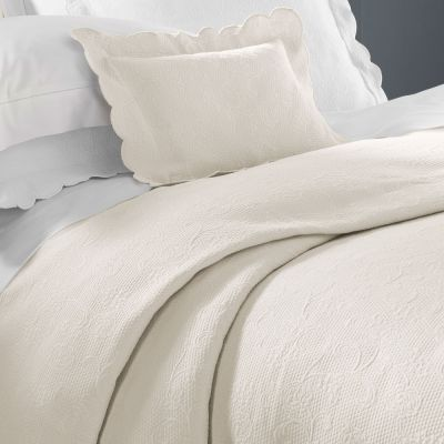 Alice Coverlet & Shams. Ivory & White