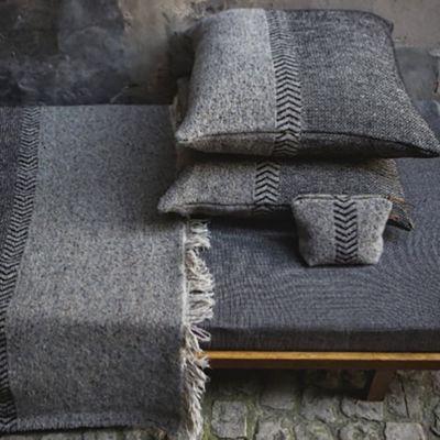 Black Herringbone Pillow & Throw