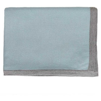 Border Blue/Grey Throw by Alicia Adams
