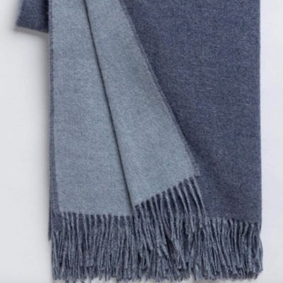 Reversible Denim Blue/ Chambray Throw by Alicia Adams