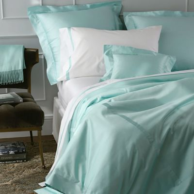 Nocturne Duvet Cover & Shams in Lagoon shown with Lowell Sheeting