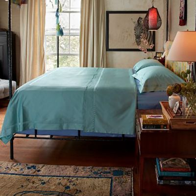 Nocturne Duvet Cover & Shams in Lagoon shown with Azure Sheeting