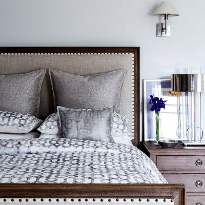 Portico Duvet Cover & standard shams, Moonstruck Coverlet & Euro Shams w/ Glisten Lumbar Pillow