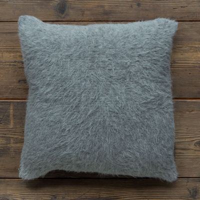 Shaggy Pillow. Light Grey/Charcoal