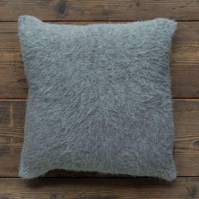 Shaggy Pillow. Light Grey/Charcoal