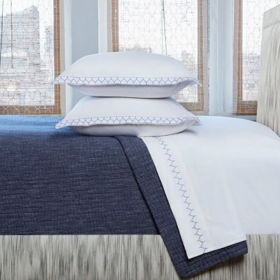 Vivada Ink Coverlet shown with Stitched Sheeting